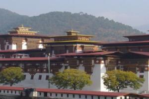 """""""宗Dzong""""是17世纪初期由不丹第一位神权领袖拿旺喇嘛Ngawang Namgya所创建的,是集政、教、法于一身的喇嘛教僧院兼城堡建筑,不丹几乎每个重要谷地都有""""宗""""的设立,做为抵御外侵的要塞。  普那卡宗(Punakha Dzong)建于1636年,是不丹境内第二古老的寺院。  不丹人相信但凡两条河或两条路交汇,即是圣灵集中地,普那卡宗于两条主要支流母亲河MoChu和父亲河PhoChu之间,流水淙淙,格外宁静,院中一大棵菩提树,古木参天,小和尚成群走过,刹那心平如镜。普那卡宗(英语:Punakha District)是不丹二十个宗(dzongkhag)之一,面积达1,016平方公里,人口约23,340人,首府为普那卡。建筑特色  大殿的立柱全部为铜皮镂花雕刻,其内容主要是吉祥纹花草人物,再通体镀金,其长度为5米左右;部分门窗也都以整张铜皮镀金,但未有雕花。门框饰以色彩繁杂的雕花,与之相配,显示出不丹人在色彩创新上的大胆和独特的艺术魅力。这种怪诞的反差,只有藏传佛教艺术才敢大肆地应用,并延续了几个世纪,这让人惊叹。让人吃惊的是主殿的窗户镂雕花竟是中国古代中原的吉祥花纹。"""